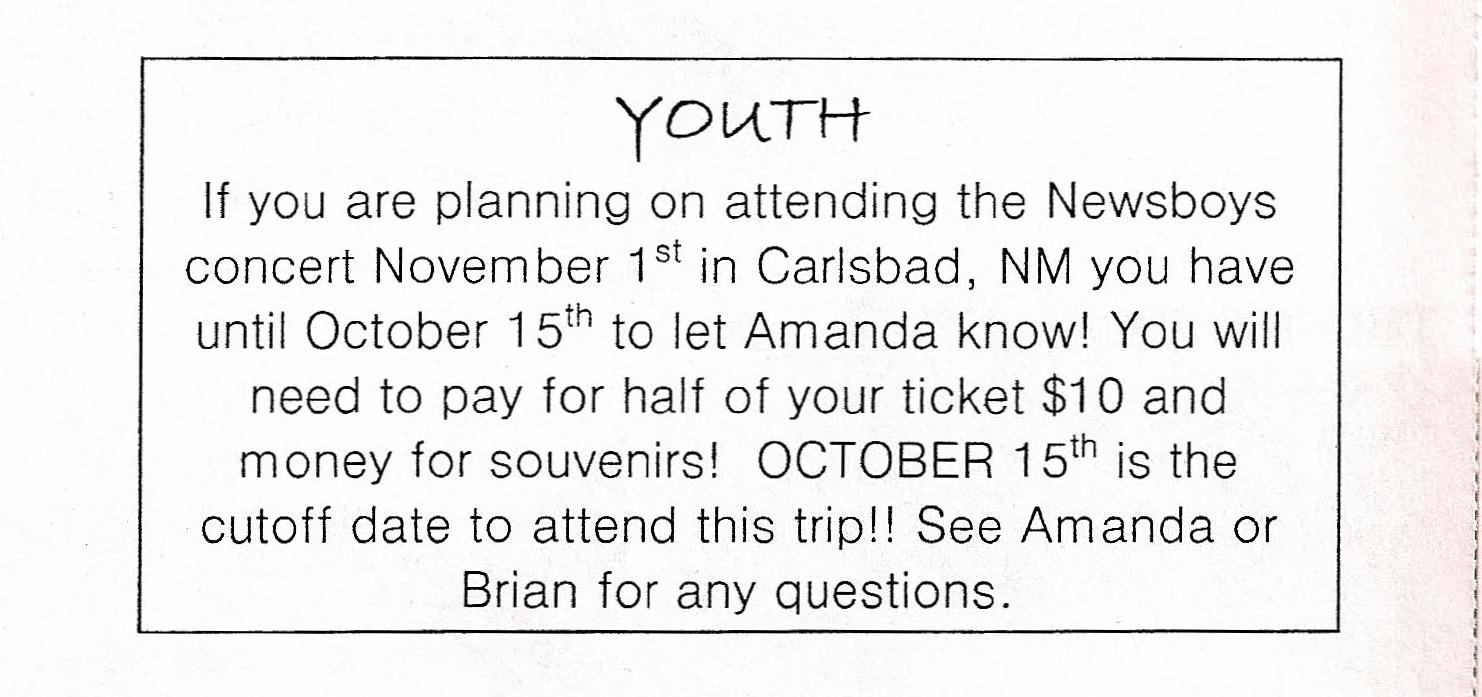 Youth – Regarding Newsboys concert